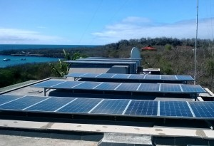 Newly installed photovoltaic solar panels on the roof of the Galapagos Science Center.